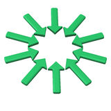 Green circle of arrows 3d. Circle of green arrows pointing in one direction with blank space in the center 3d Royalty Free Stock Images
