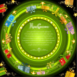 Green circle frame on green christmas tunnel background with golden stars and boxes Royalty Free Stock Photos