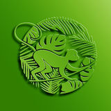 Green Circle Illustration of Monkey in Jungle. Green Circle Illustration of Symbol of 2016 New Year - Monkey in Jungle. Chinese Zodiac Vector Sign. Paper Cutting Stock Illustration