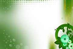 Green circle and leaves on right corner abstract background Royalty Free Stock Photos