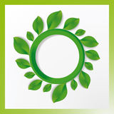 Green circle with leaves on it. Royalty Free Stock Image