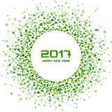 Green Circle New Year 2017 confetti frame on white Background. Royalty Free Stock Images