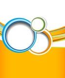 Green circle on orange wave background - flyer design Royalty Free Stock Photo