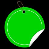 Green Circle Tag or label with Curl Effect, at Black Background Royalty Free Stock Photos