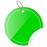 Green Circle Tag or label with Curl Effect, isolated on white Stock Photo