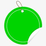 Green Circle Tag or label with Curl Effect, isolated on white Stock Photos