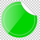 Green Circle Tag or label with Curl Effect, at Transparent Effect Background Stock Photos