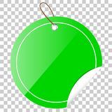 Green Circle Tag or label with Curl Effect, at transparent effect background Stock Photo