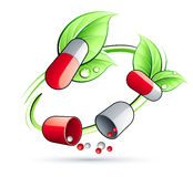Green Circle Vine With Pill Capsules Stock Photos