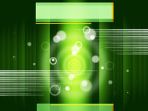 Green Circles Background Shows Bubbles And Straight Lines Stock Images