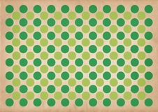 Green circles retro pattern background. Green circles retro pattern on a grungy brown background stock illustration