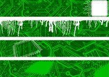 Green Circuit Banners Stock Photo