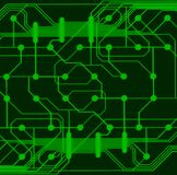 Green circuit board. Green computer circuit board closeup Stock Photography