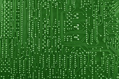 Green circuit board background. Green circuit board macro background Stock Images