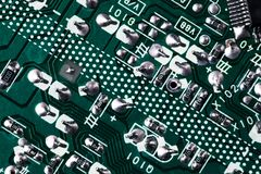 Green circuit board background of computer motherboard stock photography