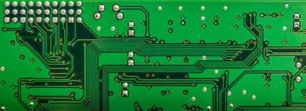 Green circuit board background. Stock Image
