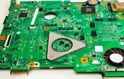 Green electronic board with many digits stock photo
