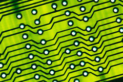 Green Circuit board close up. Stock Photos