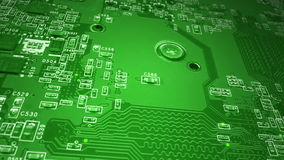 Green Circuit Board. A dolly shot of a Green Circuit Board with moving,glowing energy dots stock video