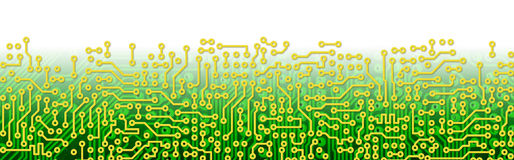 Green circuit board graphical border Stock Photography
