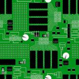 Green circuit board seamless pattern Royalty Free Stock Photos