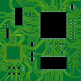 Green circuit board vector illustration. Royalty Free Stock Images
