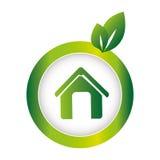 Green circular emblem with eco home. Vector illustration Royalty Free Stock Photos
