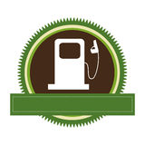 Green circular frame with bio fuel station and banner Stock Images