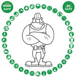 Green circular Health and Safety Icon collection Stock Photo