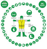 Green circular Health and Safety Icon collection Royalty Free Stock Photo