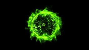 Green circular shinning glowing light ring sparkle powerful effect dust explosion