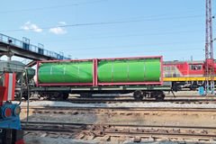 Green cistern of freight train at railway Royalty Free Stock Photography