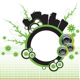 Green city. Abstract colorful illustration with colorful circles, loudspeakers, buildings, flowers and green branches. Abstract urban design Stock Images