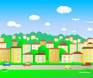 Green city. Great green city at summer day vector illustration