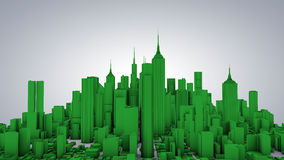 Green city 3d. With buildings and skyscrapers Stock Images