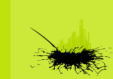 Green city with black splash. Stock Photography
