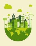 Green city building, save earth concept, vector Stock Photo