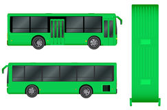 Green City bus template. Passenger transport. Vector illustration eps 10 isolated on white background. Stock Images