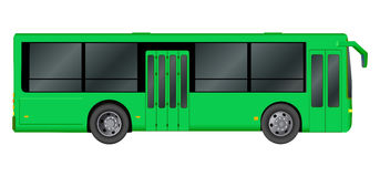 Green City bus template. Passenger transport. Vector illustration eps 10 isolated on white background. Stock Photo