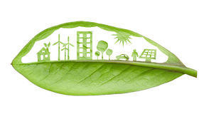 Green futuristic city living concept. Life with green houses, so royalty free illustration