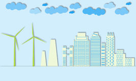 Green city concept. Eco town. Wind generators and alternative energy for large cities. Royalty Free Stock Photo