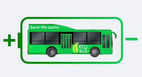 Green City eco bus template. Illustration of electric Passenger transport. Vector illustration eps 10. Isolated on white background Royalty Free Stock Photography