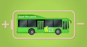 Green City eco bus template. Illustration of electric Passenger transport. Vector illustration eps 10 isolated. On white background Royalty Free Stock Images