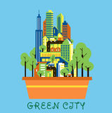 Green city eco concept with modern urban landscape. Green city eco concept showing flower pot with modern urban landscape of colorful skyscrapers, cars and green Vector Illustration