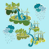 Green city eco friendly power elements. Stock Photo