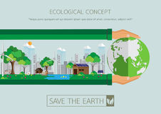 Green city with eco life conservation. Ecological concept design.Green city with Eco life conservation.Vector illustration Royalty Free Stock Photos