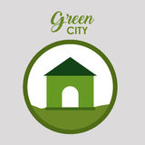 Green city and ecology design. House icon. Green city and ecology theme. Isolated and button design. Vector illustration Stock Photos