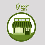Green city and ecology design. Store icon. Green city and ecology theme. Isolated and button design. Vector illustration Royalty Free Stock Photo