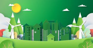 Green city and environment concept paper art style stock photos