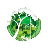Green city for environment conservation. Green eco friendly city and save energy creative idea concept.Paper carving nature landscape and environment royalty free illustration